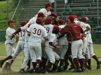 the 2006 Cardinals celebrating after a playoff victory against Lincoln.