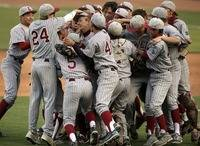 Lowell celebrates after winning the AAA Championship Game at AT&T Park.
